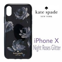 SALE★ロゴ【送料込★Kate Spade】iPhoneX★Night Roses/Glitter