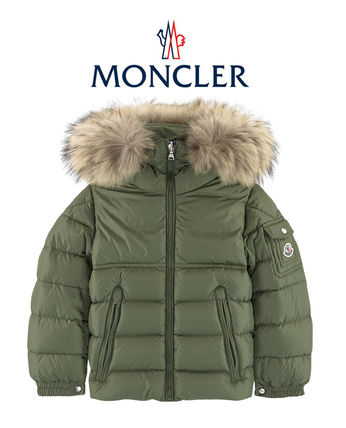 18AW MONCLER New Byron  子供 4-10歳  ファーダウン カーキ