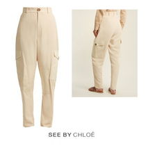 【SEE BY CHLOE】High-rise stretch-twill cargo trousers
