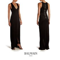 【BALMAIN】Coin-embellished jersey gown