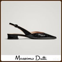MassimoDutti♪BLACK MOCK CROC LEATHER SLINGBACK BALLERINAS