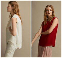 Massimo Dutti【NEW】PLEATED TOP WITH INSERTED LACE DETAIL