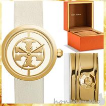 【Tory Burch】REVA WATCH, IVORY LEATHER/GOLD-TONE, 36MM