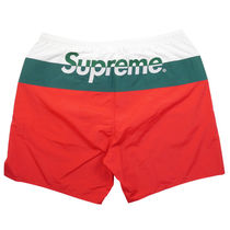 Supreme SS17 Split Logo Water Short 赤 (Supremeステッカー付)