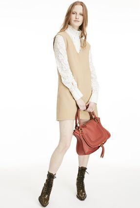 Chloe ワンピース 18-19AW C357 LOOK26 DOUBLE FACE WOOL PINAFORE DRESS(2)
