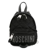 【  Moschino 】 Mini Quilted Stud Logo Backpack 黒/シルバー
