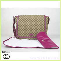 GUCCI★グッチ★素敵!Pink Trim GG Messenger Diaper Bag