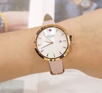 kate spade*rose gold tone & pink leather park row