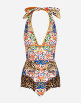 18-19AW DOLCE & GABBANA PRINTED ONE-PIECE SWIMSUIT