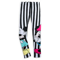 Mickey and Minnie Mouse Striped Leggings for Women by
