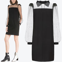 18-19AW G317 CREPE MINI DRESS WITH BOW