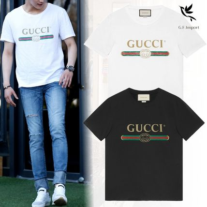 GUCCI Tシャツ・カットソー 【関税.送料無料!!】GUCCI☆GGロゴ付き ブランドプリントTシャツ