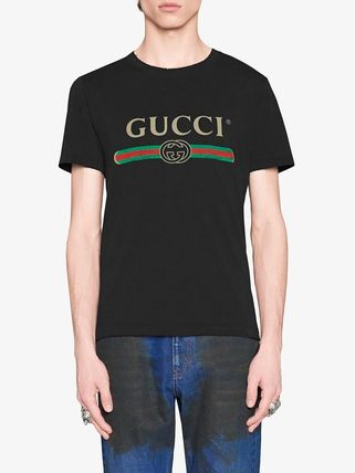 GUCCI Tシャツ・カットソー 【関税.送料無料!!】GUCCI☆GGロゴ付き ブランドプリントTシャツ(6)