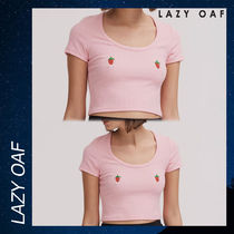 LAZY OAF Strawberry Boob Fitted シャツ Tシャツ 半袖 ピンク