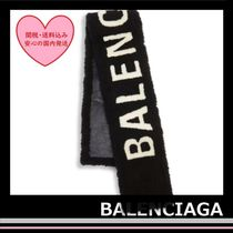 Balenciaga Burnished Shearing Scarf black fur white Logo