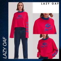 LAZY OAF Feed Me Cropped シャツ Tシャツ 長袖 ロンT レッド