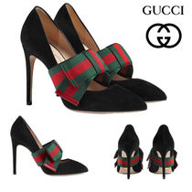 GUCCI グッチ Suede pump with removable Web bow パンプス