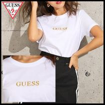 Guess(ゲス) Tシャツ・カットソー 国内発送★ゲス レディース メタリック GUESS ロゴ T★ホワイト