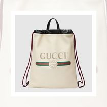 【New 大注目】Gucci Print leather drawstring backpack