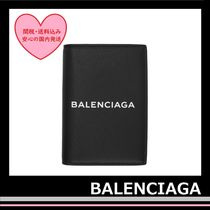BALENCIAGA Everyday Passport Holder Leather Black white Logo