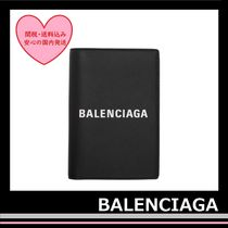 BALENCIAGA Everyday Passport Holder case leather Black white