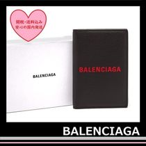 BALENCIAGA everyday Passport Holder case leather Black red