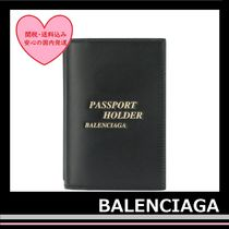 BALENCIAGA Passport Holder ID case leather Black Gold logo