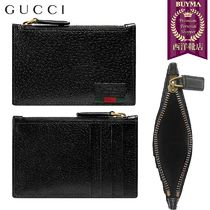 【正規品保証】GUCCI★18秋冬★LEATHER CARD CASE WITH WEB_NERO