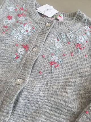 AW18 BONPOINT☆FILLE☆カーディガン刺繍グレー6A