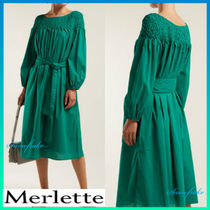 送料関税込★merlette★Bonaire belted smock dress☆Green
