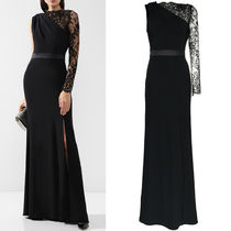 18-19AW AM387 ONE SHOULDER LACE SLEEVE CREPE GOWN