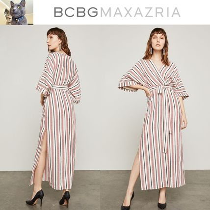 【BCBGMAXAZRIA】Striped Faux-Wrap Maxi ドレス
