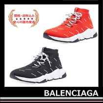 人気! BALENCIAGA Speed Logo Mesh Sneakers black red lace up