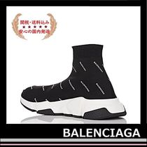 BALENCIAGA Speed Trainers Sock Sneakers black logo white