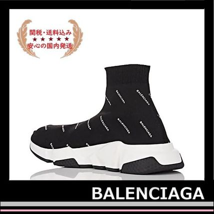 BALENCIAGA メンズ・シューズ BALENCIAGA Speed Trainers Sock Sneakers black logo white