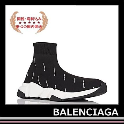 BALENCIAGA メンズ・シューズ BALENCIAGA Speed Trainers Sock Sneakers black logo white(2)