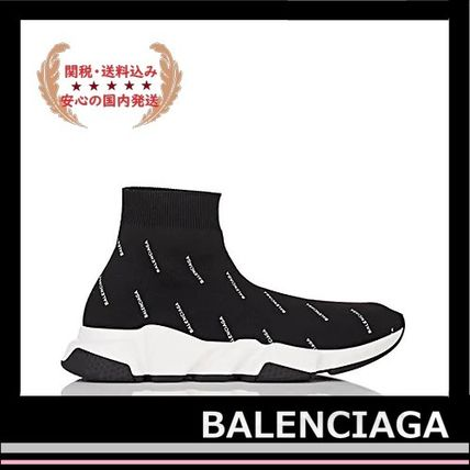 BALENCIAGA メンズ・シューズ BALENCIAGA Speed Trainers Sock Sneakers black logo white(3)