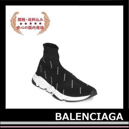 BALENCIAGA メンズ・シューズ BALENCIAGA Speed Trainers Sock Sneakers black logo white(5)