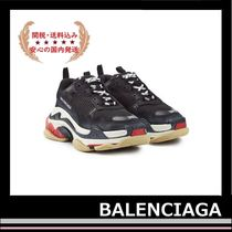 BALENCIAGA Triple S Leather Trainer Sneakers Black red white