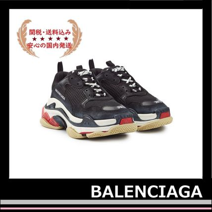 BALENCIAGA メンズ・シューズ BALENCIAGA Triple S Leather Trainer Sneakers Black red white