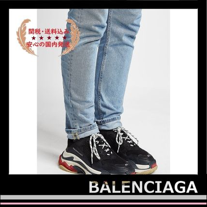 BALENCIAGA メンズ・シューズ BALENCIAGA Triple S Leather Trainer Sneakers Black red white(10)