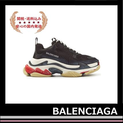 BALENCIAGA メンズ・シューズ BALENCIAGA Triple S Leather Trainer Sneakers Black red white(3)