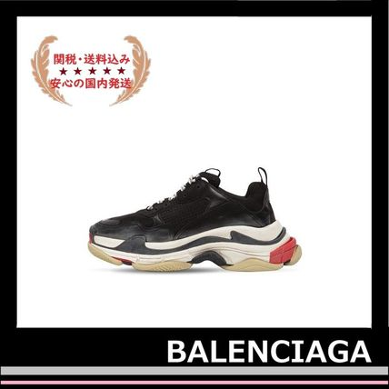 BALENCIAGA メンズ・シューズ BALENCIAGA Triple S Leather Trainer Sneakers Black red white(4)