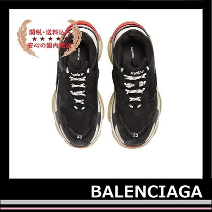 BALENCIAGA メンズ・シューズ BALENCIAGA Triple S Leather Trainer Sneakers Black red white(5)