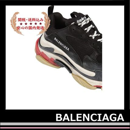BALENCIAGA メンズ・シューズ BALENCIAGA Triple S Leather Trainer Sneakers Black red white(6)