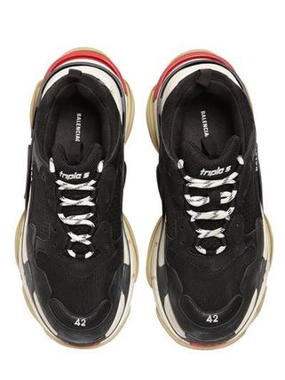 BALENCIAGA メンズ・シューズ BALENCIAGA Triple S Leather Trainer Sneakers Black red white(11)