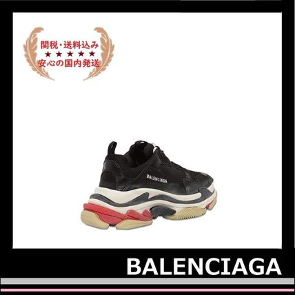 BALENCIAGA メンズ・シューズ BALENCIAGA Triple S Leather Trainer Sneakers Black red white(7)