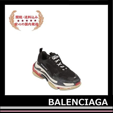 BALENCIAGA メンズ・シューズ BALENCIAGA Triple S Leather Trainer Sneakers Black red white(9)