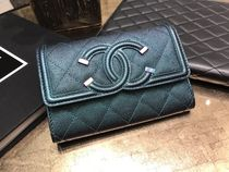 Chanel☆Metalic Flap M size財布☆D.Turquoise
