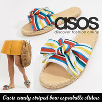 ASOS◆Oasis candy striped bow espadrille sliders《送料込》